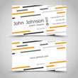 business card with small orange stripes