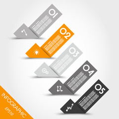 orange infographic origami bent stickers with icons