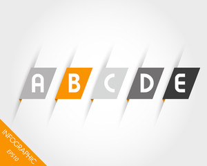 orange oblique modern paper stickers with letters