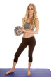 woman gray sports bra medicine ball full body