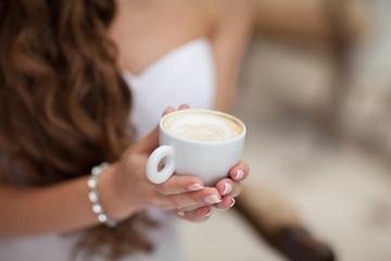 woman drink coffee tea
