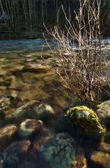 Rocks Underwater sunlit by sunset