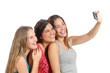 Group of teenager girls photographing with smart phone camera