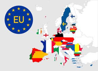 Karte der Europäischen Union mit einzelnen Mitgliedsstaaten