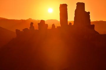 Sunrise over Corfe Castle in Dorset