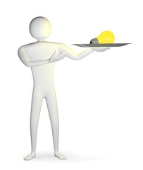 3d man with silver platter and yellow light bulb on it