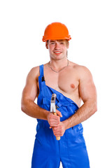Portrait of sexy mechanic on white background