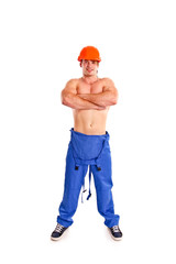 Sexy nude mechanic posing on a white background