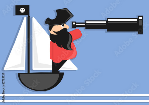 pirate cartoon character with spyglass