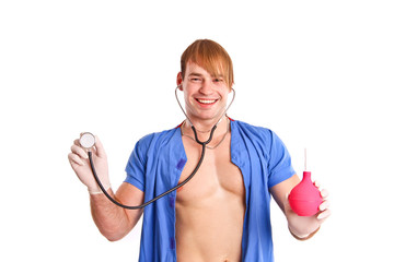 Happy sexy doctor with stethoscope and enema