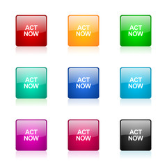 act now icon vector colorful set