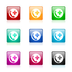 emergency call icon vector colorful set