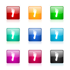 foot icon vector colorful set