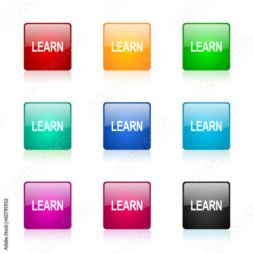 learn icon vector colorful set