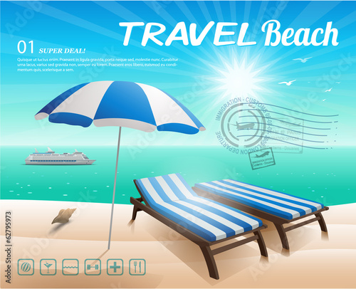 Beach background with chair and umbrella on sand