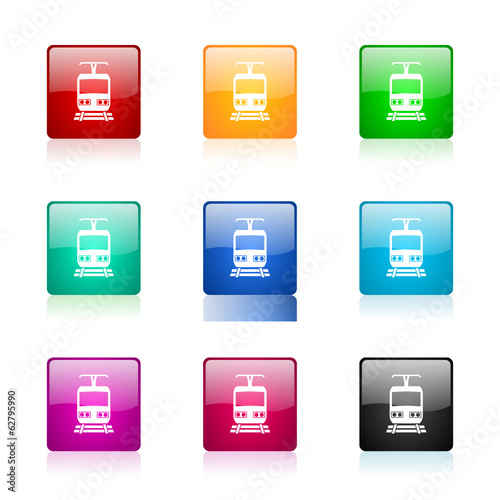 train icon vector colorful set