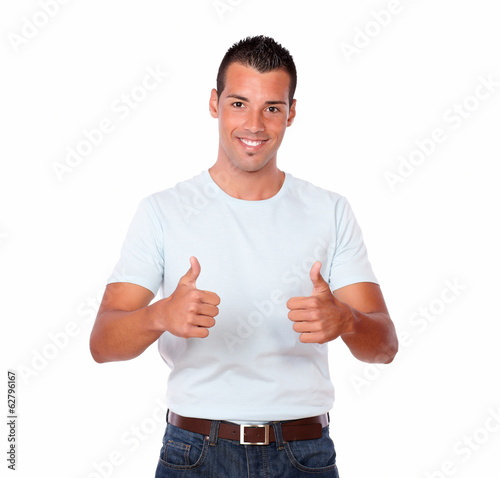 Handsome young male with ok sign