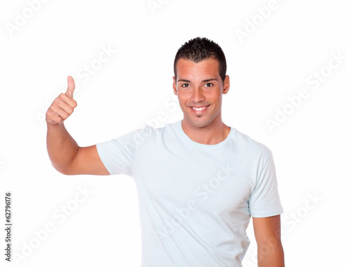 Charismatic hispanic man with positive sign