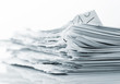 Pile of ragged paper sheets closeup picture