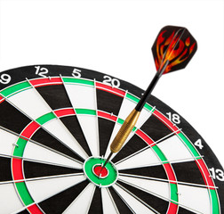 Dart board with colour dart isolated on white background