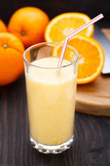 Glass of orange smoothie