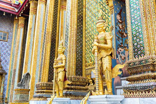 Golden guards statues of Wat Po Temple, Thailand