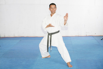 Black belt karate man with hand in spade position