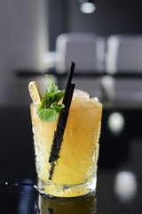 Cocktail with ice, mint and lime