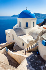 Typical Santorini church with dome. Greece