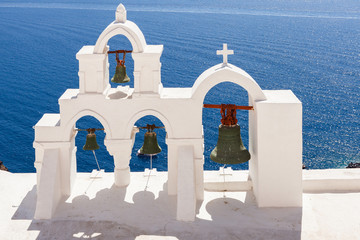 Santorini Church with archs and bells