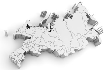 3d Russian Federation map isolated