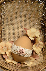 Lace decorated Easter egg