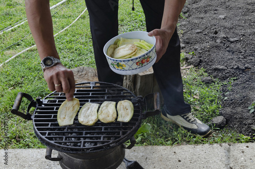 Fresh marrow roast tasty in the outdoor