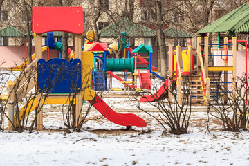 outdoor kids playground in winter city