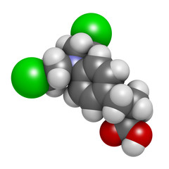 Chlorambucil leukemia drug molecule. Nitrogen mustard.