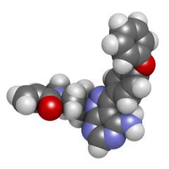 Ibrutinib cancer drug molecule.