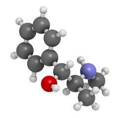 Ephedrine stimulant drug molecule. Alkaloid found in Ephedra.