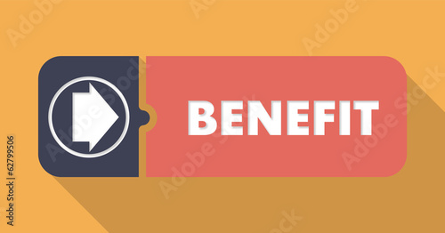 Benefit Concept on Orange in Flat Design.