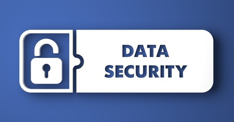 Data Security on Blue in Flat Design Style.