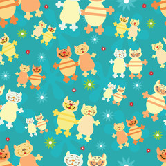 pairs of cats on blue background. seamless pattern.