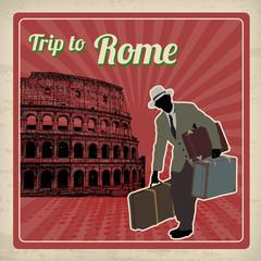 Trip to Rome retro poster