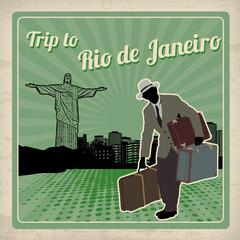 Trip to Rio de Janeiro retro poster
