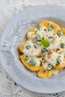 Italian home made pumpkin gnocchi with blue cheese sauce