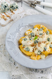 Italian home made pumpkin gnocchi with blue cheese sauce