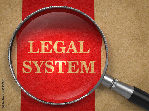 Legal System Concept - Magnifying Glass.