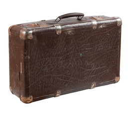Old shabby leather suitcase