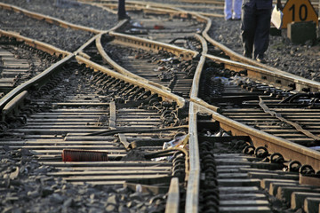 The railway track merging, Set of Points on a Railway Train Trac