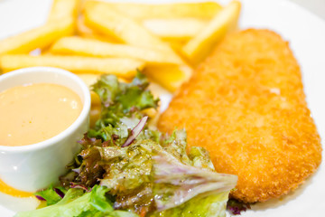 Fish and chips with dip sauce