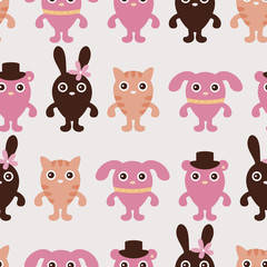 Seamless childish pattern with cute animals