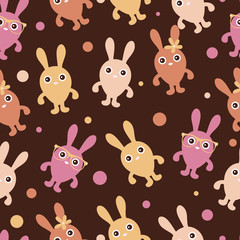 Seamless childish pattern with cute bunnies